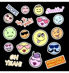 Fashion patch badges Smiles set Stickers pins vector