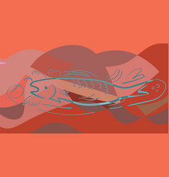 Fish in cubism style pastel colors red vector