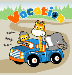 Funny animals cartoon on truck vector