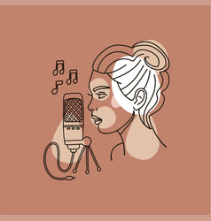 girl recording voice in a recording studio vector image