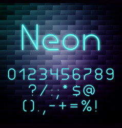 glowing neon alphabet numbers vector image
