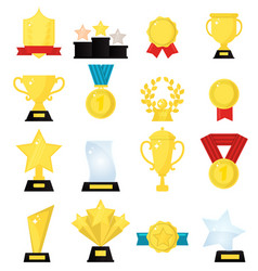 gold award medal winner beautiful golden trophy vector image