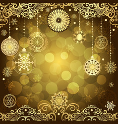 gold christmas frame with vintage gold tree balls vector image