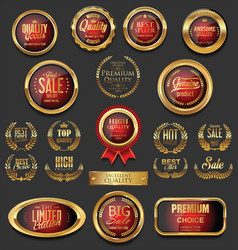 Golden badges and labels collection 5 vector
