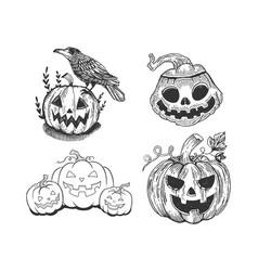 Halloween jack o lantern set sketch vector