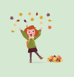 happy girl in autumn vector image