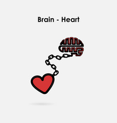 Heart and brain connection conceptbrain and heart vector