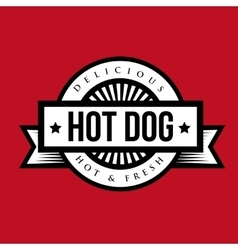 hot Dog bread sausage mustard vintage stamp vector image
