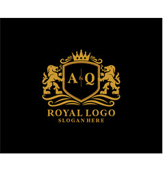 Initial aq letter lion royal luxury logo template vector