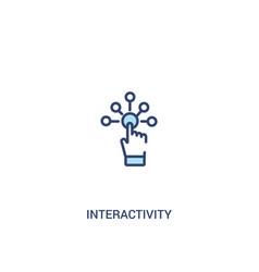 Interactivity concept 2 colored icon simple line vector