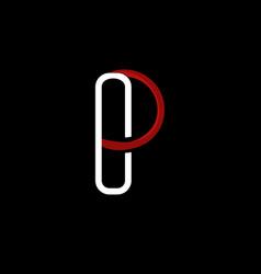 letter p outline creative minimalist logo vector image