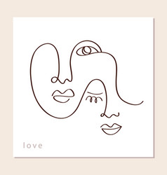 linear abstract couple faces vector image