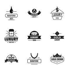 Luxuriousness logo set simple style vector