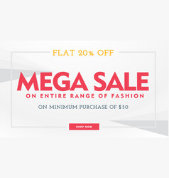 Mega sale banner template in white and red colors vector