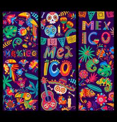 Mexican cartoon banners guitar and calavera skull vector