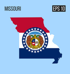 Missouri map border with flag eps10 vector
