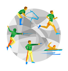 modern pentathlon with abstract patterns vector image