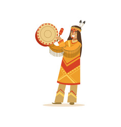 native american indian in traditional indian vector image