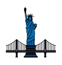new york city statue of liberty and bridge vector image