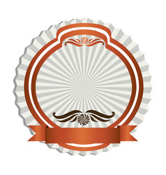 orange emblem with ribbon decoration icon vector image