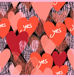 pattern bright red hearts vector image