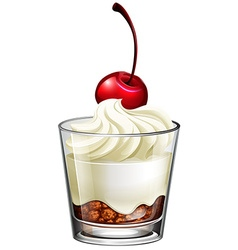Pudding cream in glass with cherry vector