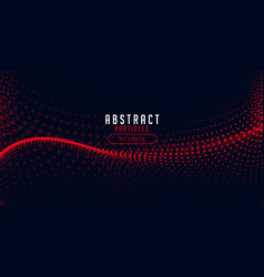 Red halftone particle wave on black background vector