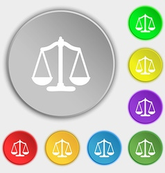 Scales balance Symbols on eight flat buttons vector