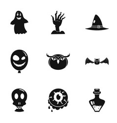 scary halloween icon set simple style vector image