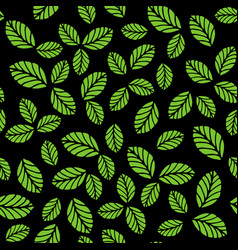 seamless pattern with green strawberry leaves vector image