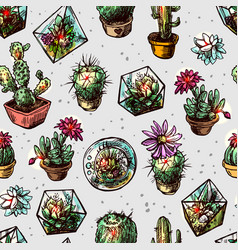 Seamless pattern with succulents and cactus vector