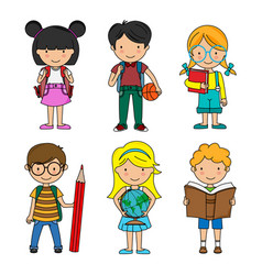 set boys and girls students vector image