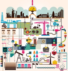 set factory infographics factory info graphics vector image