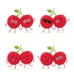 set of cherry characters in different expressions vector image