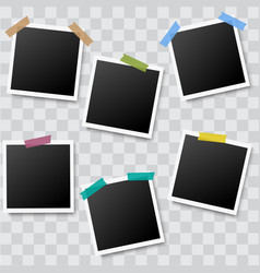 set of realistic photo frames with adhesive tapes vector image