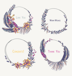 set tropical wreaths exotic natural vector image