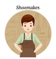 shoemaker with outline icons set of shoes repair vector image