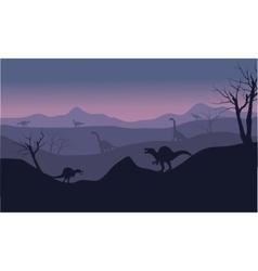 Silhouette of Brachiosaurus and spinosaurus vector