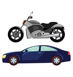 Sport car and motorbike vehicle transport vector