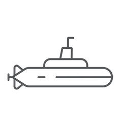 submarine thin line icon ocean and navy boat vector image