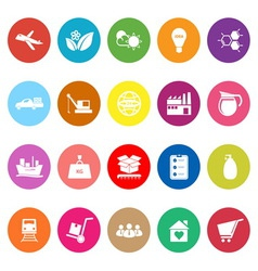 Supply chain and logistic flat icons on white vector