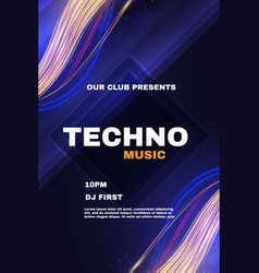techno music fest poster template show vector image