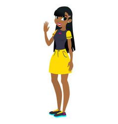Teenager african american girl with black vector