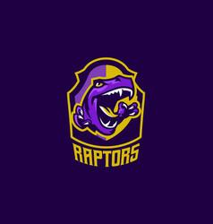 the emblem of an aggressive dinosaur sharp teeth vector image