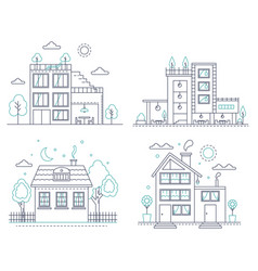 thin line countryside suburban american house with vector image