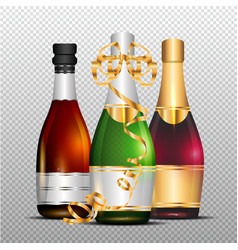 Three bottles of champagne with gold curly ribbon vector