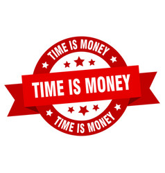 time is money ribbon time is money round red sign vector image
