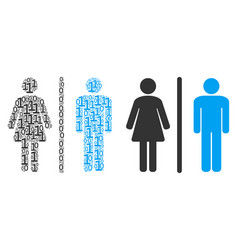 Toilet persons mosaic of binary digits vector