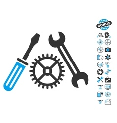 Tuning service icon with copter tools bonus vector