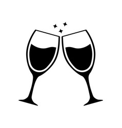 Two glasses of wine or other alcohol glasses vector